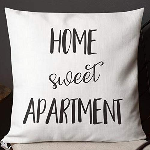 Home Sweet Apartment Pillow Case Covers Funny New Apartment Gifts Decor Machine Washable Two Side Invisible Zipper Color:c ()