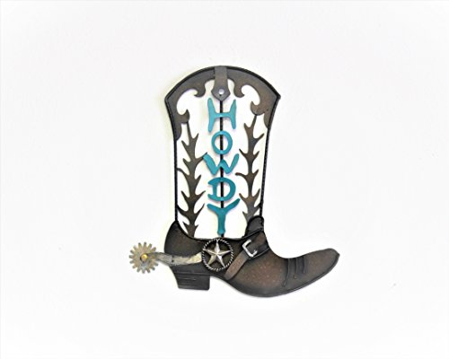 HOME METAL CIRCLE TEXAS WESTERN HANGING WALL PLAQUES (METAL HOWDY COWBOY BOOT)