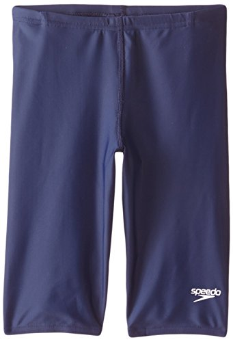 Speedo Big Boys' PowerFLEX Eco Solid Jammer Swimsuit, Speedo Navy, (Speedo Boys Swimsuit)