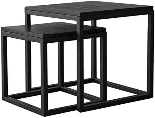 ホームテーブル無垢材のテーブル、クリエイティブソファサイドリビングルームティーテーブルレトロナイトスタンドベッドルームブラックコーヒーテーブルレジャーテーブル交渉