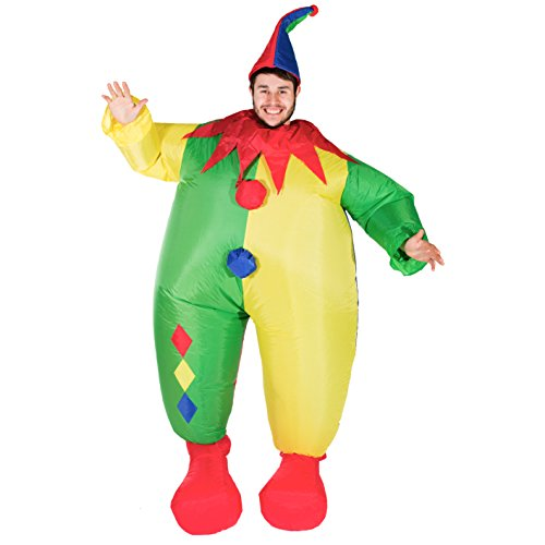 Cheap Scary Clown Costumes (Bodysocks - Inflatable Clown Blow Up Scary Adult Fancy Dress Costume)