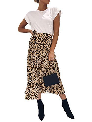 Leopard Print Ruffle Trim - Women's Ruffle Leopard Print Wrap Skirt Wide Leg Split Tie-Waist Maxi Long Palazzo A Line Midi Skirt (M, Yellow Leopard)