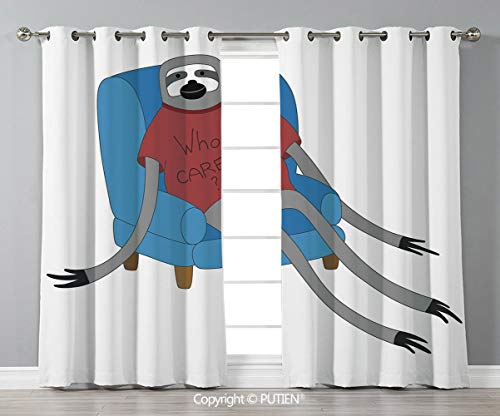(Grommet Blackout Window Curtains Drapes [ Sloth,Urban Sloth T Shirt with Inscription Who Cares Procrastination Laziness Idleness,Blue Grey Ruby ] for Living Room Bedroom Dorm Room Classroom Kitchen Ca)