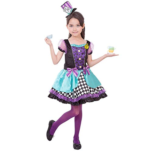 Dark Mad Hatter Halloween Costume (Purple Girls Mad Hatter Costume-Child Kids Halloween Christmas Party Cosplay Suit with Hat)