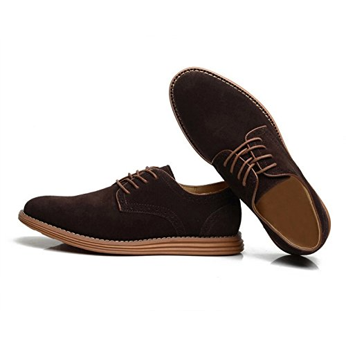 SODIAL(R) NEUF 2014 Daim Style Europeen Chaussures en Cuir Hommes oxfords Casual 999 Brun Taille UK8.5 EU41