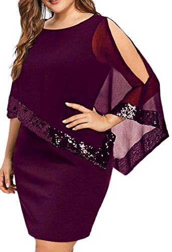 Wine Red Cape Jaycargogo Pencil Bodycon Plus Women Midi Summer Size Dress 7qx4wBU