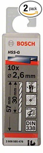 6mmx30mmx57mm 10 Pcs Bosch 2608585478 Metal Drill Bit Hss-G 2