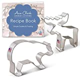 Ann Clark Mountain Wildlife Cookie Cutter Set with Recipe Book - 2 Piece - Grizzly Bear and Moose - USA Made Steel
