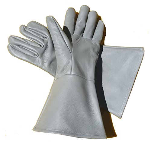 Leather Gauntlet Gloves Dove Grey (X-LARGE)