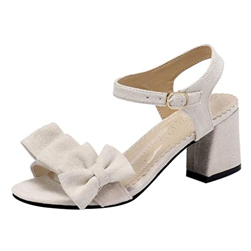 Qingell Sandals Women's Bow High Heels Solid Color Sandals Student Shoes Wild Thick Sandals Ladies Sandals Beige ()