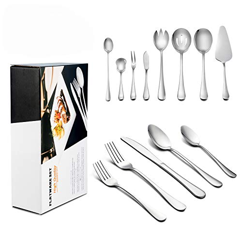 LIANYU 38-Piece Silverware Set with Serving Pieces, Service for 6, Stainless Steel Flatware Cutlery Set, Tableware Eating Utensils, Mirror Finished, Dishwasher - Piece Steel 6 Utensil Stainless