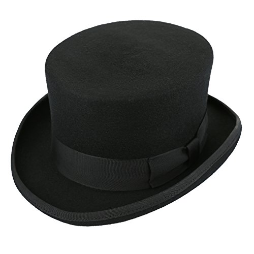 Sedancasesa 100% Wool Felt Top Hat Dress Up Hats Costume Party Cap Unisex Black (M)