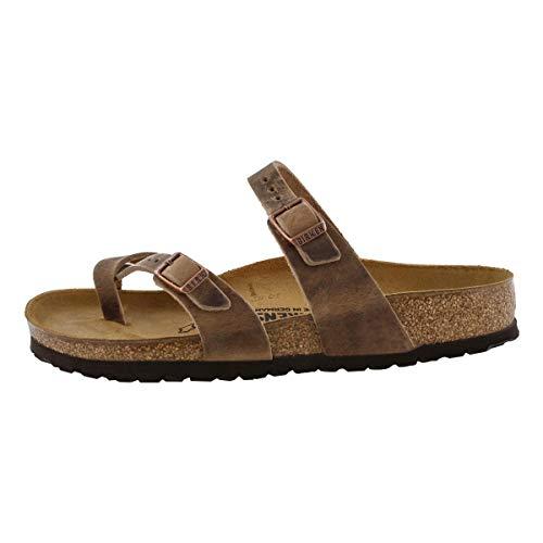 Leather Toe Suede - Birkenstock Women's Mayari Adjustable Toe Loop Cork Footbed Sandal Tobacco 37 M EU