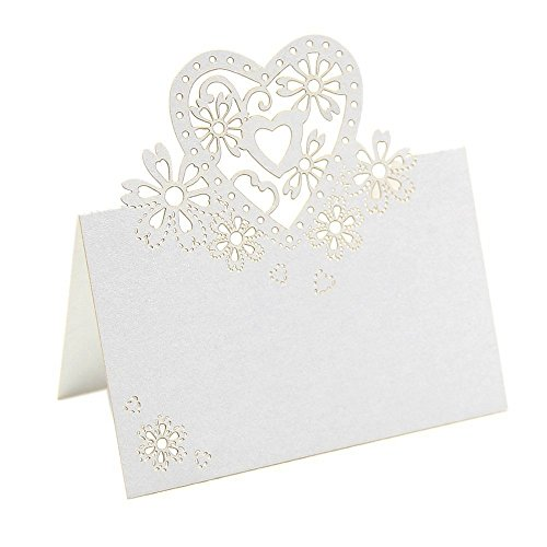 Enking Love Heart Laser Cut Table Name Place Cards Wedding Decor White by Enking