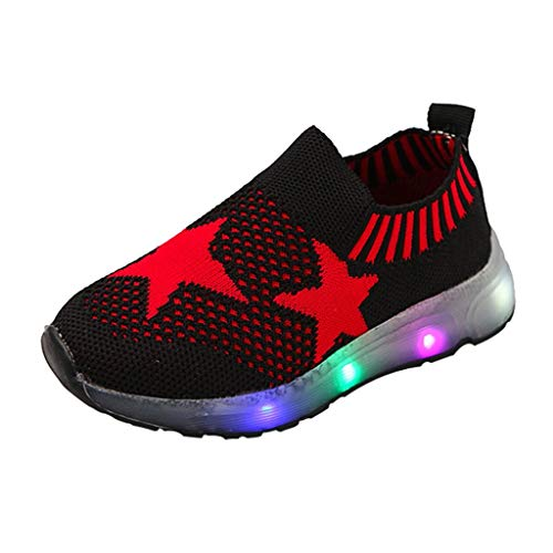 Kids LED Slip on Sneakers Star Breathable Lightweight Knit Light Up Shoes Boys Girls Walking Flashing Sneakers Black