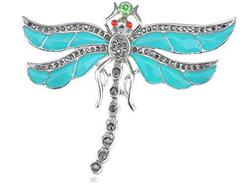 Enamel Dragonfly Pin - Alilang Aqua Enamel Paint Baby Blue Crystal Rhinestone Egyptian Dragonfly Pin Brooch