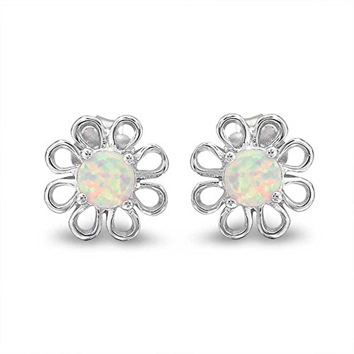 - Daisy Flower Stud Earrings Created White Opal Center Filigree 925 Sterling Silver 12mm