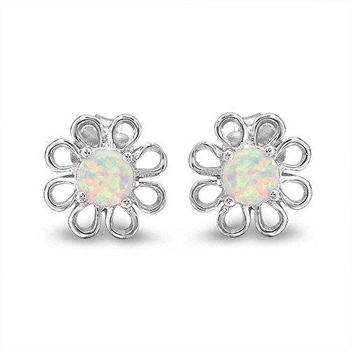 (Daisy Flower Stud Earrings Created White Opal Center Filigree 925 Sterling Silver 12mm)