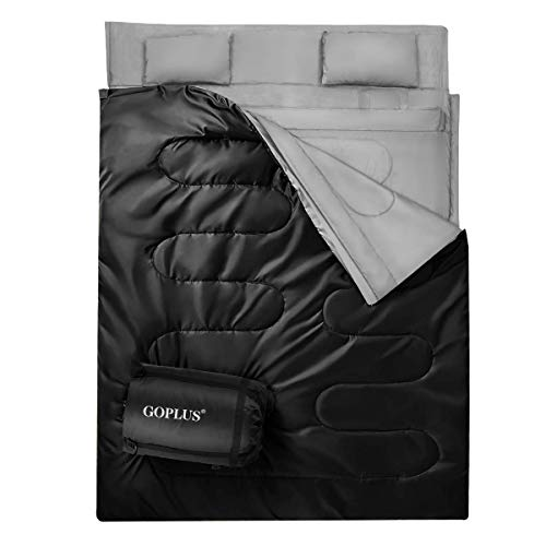 Goplus Double Sleeping Bag Waterproof Portable 2 Person Sleeping Bags with 2 Pillows Carrying Bag, Queen Size XL 3-4 Season for Adults Teens Camping Traveling Hiking Outdoor Activities