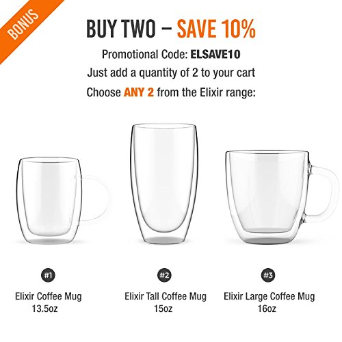 Large Coffee Mugs, Double Wall Glass Set of 2, 16 oz - Dishwasher & Microwave Safe - Clear, Unique & Insulated with Handle, By Elixir Glassware by Elixir Glassware (Image #6)