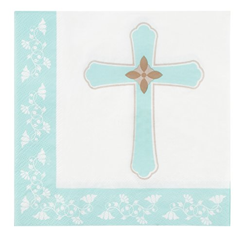 Cocktail Napkins - 150-Pack Luncheon Napkins, Disposable Paper Napkins Religious Party Supplies for Kids Birthdays, 2-Ply, Unfolded 13 x 13 inches, Folded 6.5 x 6.5 inches (Napkins Religious Crosses)