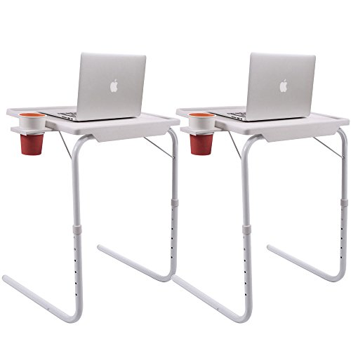 2x Smart Folding Adjustable Tray Foldable Desk W/Cup Holder