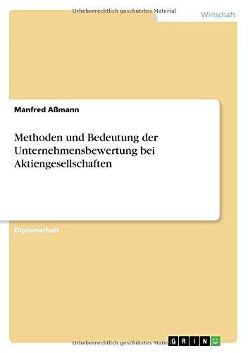 Download Methoden und Bedeutung der Unternehmensbewertung bei Aktiengesellschaften (German Edition) pdf epub