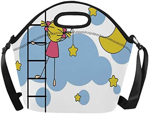 Star Stylish Neoprene Lunch Bag,Cute Girl on Ladder Hanging a Star in the Night Sky with Half Moon Cartoon Picture for Outdoor,One size