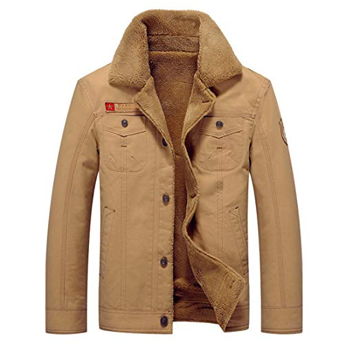 Men's Inlefen top Cotton Clothing Warm Winter Khaki Jacket Lapel Casual r8fqxXwR8