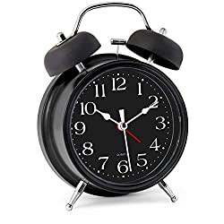 Bernhard Products Analog Alarm Clock 4 Twin Bell Black Silent Non-Ticking Quartz Battery Operated Extra Loud with Backlight for Bedside Desk, Retro (Classic Black Metal)