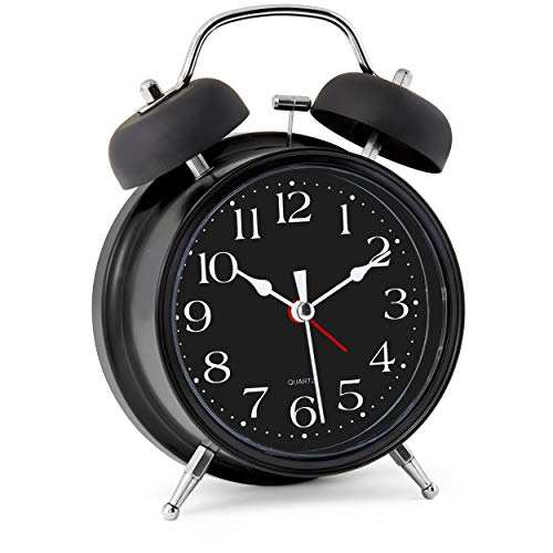 "Bernhard Products Analog Alarm Clock 4"" Twin Bell Black Silent Non-Ticking Quartz Battery Operated Extra Loud with Backlight for Bedside Desk, Retro (Classic Black Metal)"