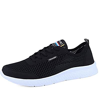 QXA Fashion Mens Women's Lightweight Athletic Running Shoes Breathable Mesh Upper Walking Lovers Sneakers (Color : Black, Size : 35 EU)