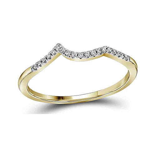 14kt Yellow Gold Womens Round Diamond Contoured Enhancer Wedding Band 1/12 Cttw ()
