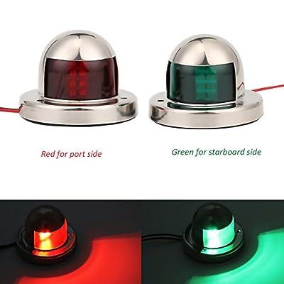 Onerbuy LED Navigation Bow Light Stainless Steel 12V Marine Boat Yacht Light Sailing Signal Lamp, Red & Green