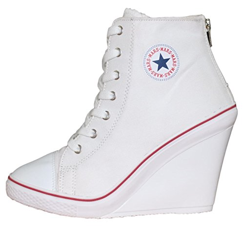 White High Wedge - MARSSTAR Hightop High Heels Wedge Back Zipper Canvas Fashion Sneakers for Women Size (8, White)
