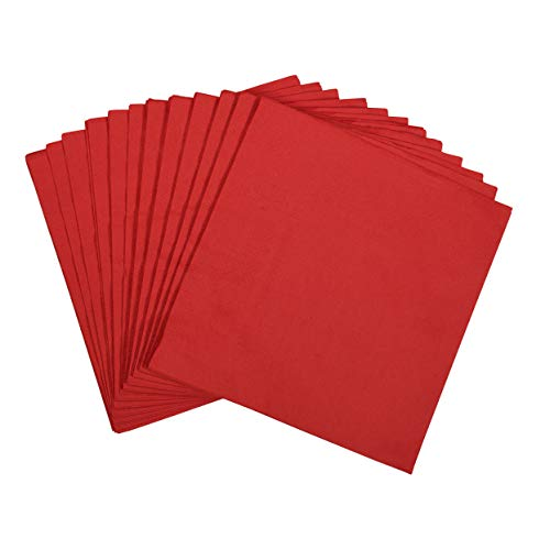 100 Large Red Paper Napkins | 2-Ply Lunch Size Disposable Napkins | Perfect Pop of Color for Parties, Weddings, Dinners, Luncheons by Dessie -