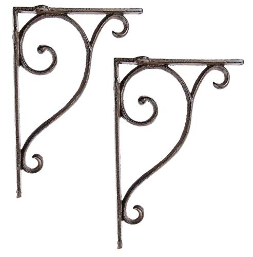 Aunt Chris' Products - [Lot/Set of 2] - Shelf Bracket With Simple Thin Victorian Scroll Design - Wrought Iron - All-Purpose Hanger - Dark Rustic Bronze Primitive Design - Indoor or Outdoor Use (Victorian Hanging Bronze)
