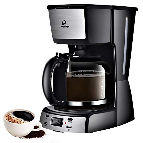 Programmable Smart Drip Coffeemaker Coffee Brew Machine with 1.8L Glass Carafe Black by Posame ()