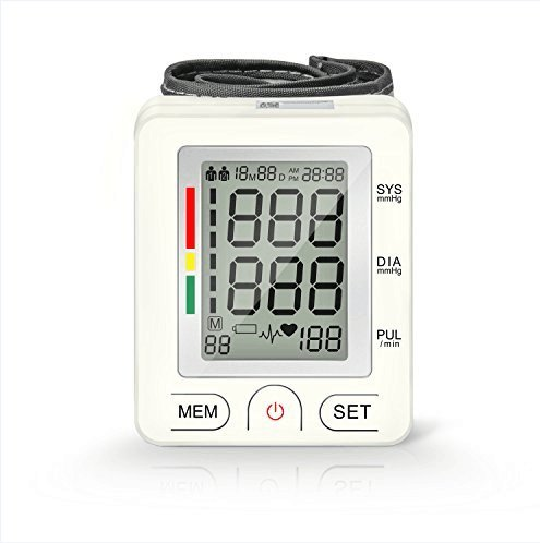 Wrist Blood Pressure Cuff Monitor, Portable Irregular Heartbeat BP Monitor with LCD Display, FDA Approved, Accurate& Fast Readings(White)
