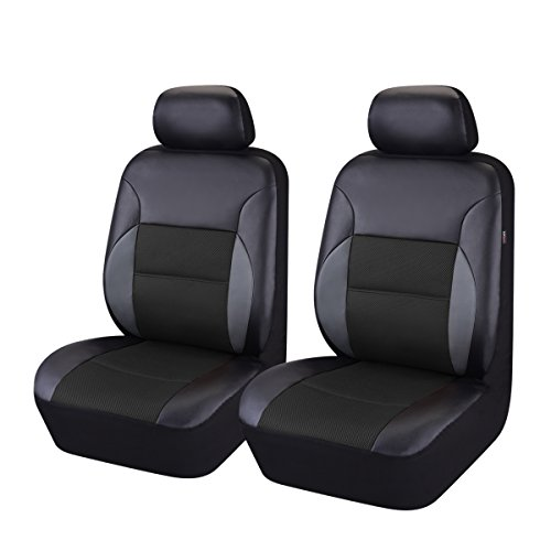 (CAR PASS - 6PCS Luxurous Leather Universal Two Front car seat Covers Set (Black and Black))