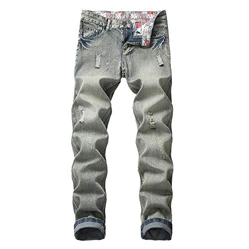 (ANJUNIE Men's Casual Straight Hole Jeans Ripped Distressed Denim Trouser Long Pants (3-Light Blue,36))