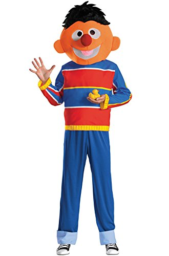 Disguise Men's Sesame Street Ernie Costume, Red/Blue/Tan/Black, Medium (Rubber Ernie Duckie)