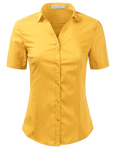 Foryous Women Button Down Shirt Short Sleeve Blouses Slim Fit Plus Size