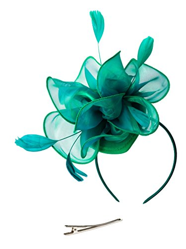 Fascinators Hat for Women Tea Party Headband Kentucky Derby Wedding Cocktail Flower Mesh Feathers Hair Clip (2-Teal) -