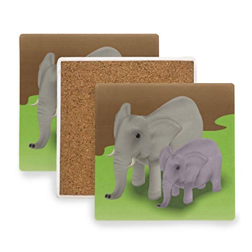 Large Square Drink Coasters,Mother Elephant With Baby Calf Ceramic Thirsty Stone With Cork Back Cup mats Protect Your Furniture From Spills, Scratches,Water Rings and Damage 2pcs