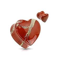 Organic Heart Shaped Red Jasper Natural Stone Saddle Plug Tunnel Ear Gauge Earring