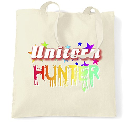 (Fantasy Tote Bag Unicorn Hunter Rainbow Slogan Natural One)