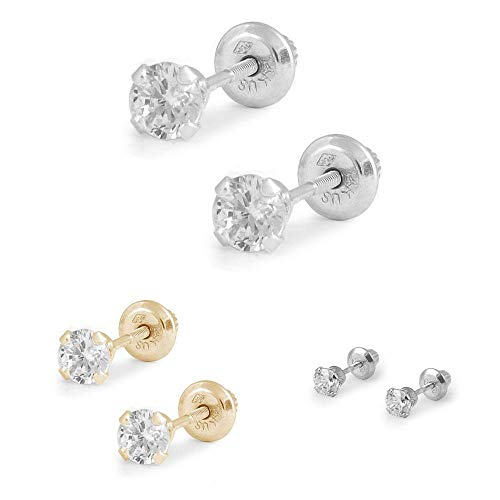 Children And Teens Jewelry - 4mm Cubic Zirconia 4-Prong Screw Back Stud Earrings
