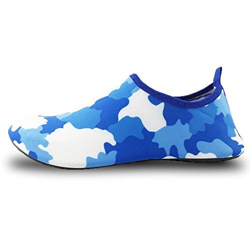 SENFI leichte Quick-Dry Wasser Schuhe für Wassersport Strand Pool Camp (Männer, Frauen, Kinder) P.01blau