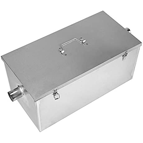 BEAMNOVA Commercial 25LB 13GPM Gallon Per Minute Grease Trap Stainless Steel Kitchen Kit Grease Interceptor
